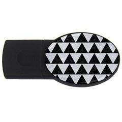 Triangle2 Black Marble & Silver Glitter Usb Flash Drive Oval (4 Gb) by trendistuff
