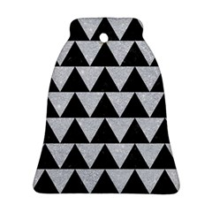 Triangle2 Black Marble & Silver Glitter Bell Ornament (two Sides) by trendistuff
