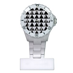 Triangle2 Black Marble & Silver Glitter Plastic Nurses Watch by trendistuff