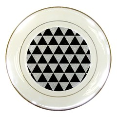 Triangle3 Black Marble & Silver Glitter Porcelain Plates by trendistuff