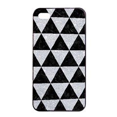 Triangle3 Black Marble & Silver Glitter Apple Iphone 4/4s Seamless Case (black) by trendistuff