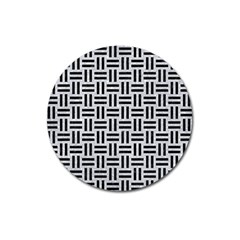 Woven1 Black Marble & Silver Glitter Magnet 3  (round) by trendistuff