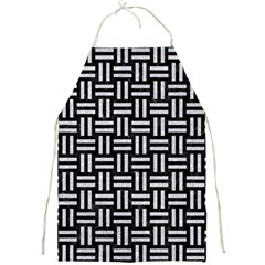 Woven1 Black Marble & Silver Glitter (r) Full Print Aprons by trendistuff