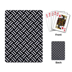 Woven2 Black Marble & Silver Glitter (r) Playing Card by trendistuff