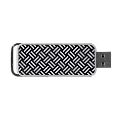 Woven2 Black Marble & Silver Glitter (r) Portable Usb Flash (two Sides) by trendistuff