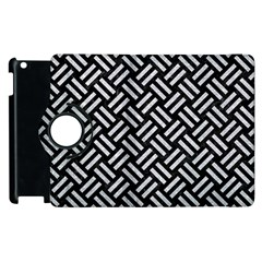 Woven2 Black Marble & Silver Glitter (r) Apple Ipad 3/4 Flip 360 Case by trendistuff