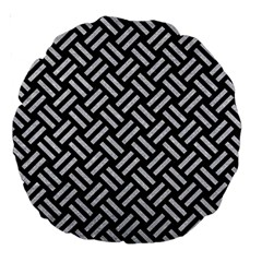Woven2 Black Marble & Silver Glitter (r) Large 18  Premium Round Cushions by trendistuff