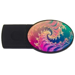 Rainbow Octopus Tentacles In A Fractal Spiral Usb Flash Drive Oval (4 Gb) by beautifulfractals