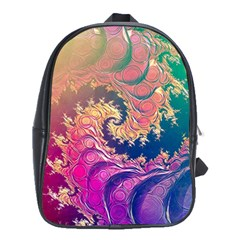 Rainbow Octopus Tentacles In A Fractal Spiral School Bag (large) by beautifulfractals