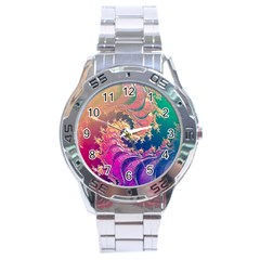 Rainbow Octopus Tentacles In A Fractal Spiral Stainless Steel Analogue Watch by beautifulfractals