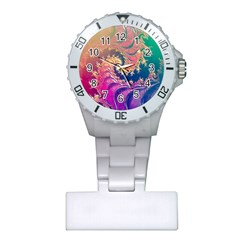 Rainbow Octopus Tentacles In A Fractal Spiral Plastic Nurses Watch by beautifulfractals