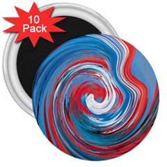 Red And Blue Rounds 3  Magnets (10 Pack)  by berwies