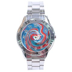 Red And Blue Rounds Stainless Steel Analogue Watch by berwies