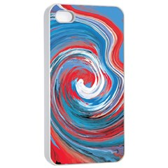 Red And Blue Rounds Apple Iphone 4/4s Seamless Case (white) by berwies