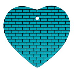 Brick1 Black Marble & Turquoise Colored Pencil Heart Ornament (two Sides) by trendistuff