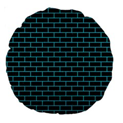 Brick1 Black Marble & Turquoise Colored Pencil (r) Large 18  Premium Round Cushions by trendistuff