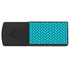 Brick2 Black Marble & Turquoise Colored Pencil Rectangular Usb Flash Drive by trendistuff