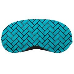 Brick2 Black Marble & Turquoise Colored Pencil Sleeping Masks