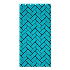 Brick2 Black Marble & Turquoise Colored Pencil Shower Curtain 36  X 72  (stall)  by trendistuff