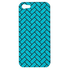 Brick2 Black Marble & Turquoise Colored Pencil Apple Iphone 5 Hardshell Case by trendistuff