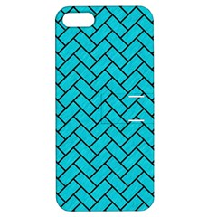 Brick2 Black Marble & Turquoise Colored Pencil Apple Iphone 5 Hardshell Case With Stand by trendistuff