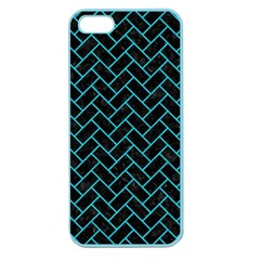 Brick2 Black Marble & Turquoise Colored Pencil (r) Apple Seamless Iphone 5 Case (color) by trendistuff