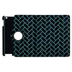 Brick2 Black Marble & Turquoise Colored Pencil (r) Apple Ipad 3/4 Flip 360 Case by trendistuff