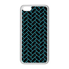 Brick2 Black Marble & Turquoise Colored Pencil (r) Apple Iphone 5c Seamless Case (white) by trendistuff