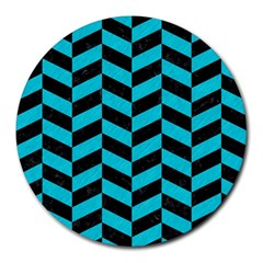 Chevron1 Black Marble & Turquoise Colored Pencil Round Mousepads by trendistuff