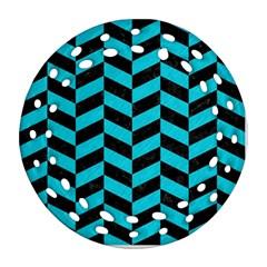 Chevron1 Black Marble & Turquoise Colored Pencil Ornament (round Filigree) by trendistuff