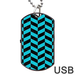Chevron1 Black Marble & Turquoise Colored Pencil Dog Tag Usb Flash (two Sides) by trendistuff