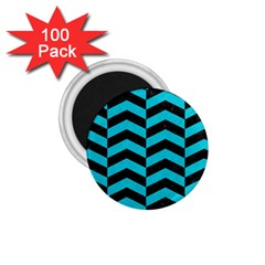 Chevron2 Black Marble & Turquoise Colored Pencil 1 75  Magnets (100 Pack)  by trendistuff