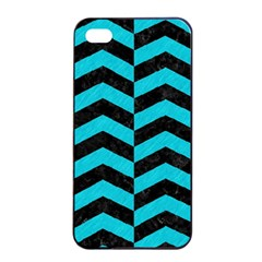 Chevron2 Black Marble & Turquoise Colored Pencil Apple Iphone 4/4s Seamless Case (black) by trendistuff