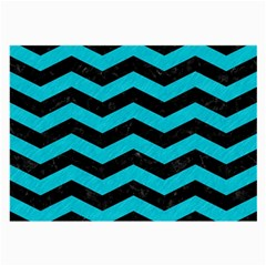 Chevron3 Black Marble & Turquoise Colored Pencil Large Glasses Cloth by trendistuff