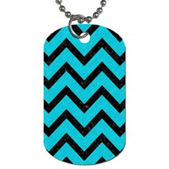 Chevron9 Black Marble & Turquoise Colored Pencil Dog Tag (one Side) by trendistuff