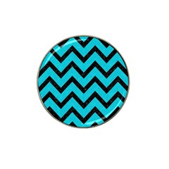 Chevron9 Black Marble & Turquoise Colored Pencil Hat Clip Ball Marker by trendistuff