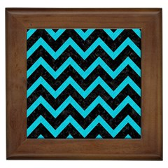 Chevron9 Black Marble & Turquoise Colored Pencil (r) Framed Tiles by trendistuff