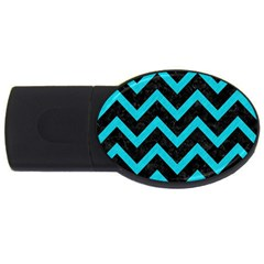 Chevron9 Black Marble & Turquoise Colored Pencil (r) Usb Flash Drive Oval (4 Gb) by trendistuff