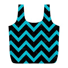 Chevron9 Black Marble & Turquoise Colored Pencil (r) Full Print Recycle Bags (l)  by trendistuff