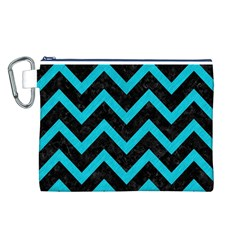 Chevron9 Black Marble & Turquoise Colored Pencil (r) Canvas Cosmetic Bag (l)