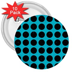 Circles1 Black Marble & Turquoise Colored Pencil 3  Buttons (10 Pack)  by trendistuff