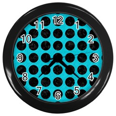 Circles1 Black Marble & Turquoise Colored Pencil Wall Clocks (black) by trendistuff