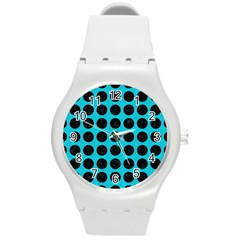 Circles1 Black Marble & Turquoise Colored Pencil Round Plastic Sport Watch (m) by trendistuff