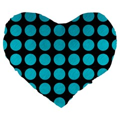 Circles1 Black Marble & Turquoise Colored Pencil (r) Large 19  Premium Heart Shape Cushions by trendistuff