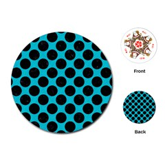 Circles2 Black Marble & Turquoise Colored Pencil Playing Cards (round)  by trendistuff