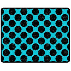 Circles2 Black Marble & Turquoise Colored Pencil Double Sided Fleece Blanket (medium)  by trendistuff