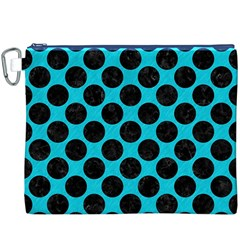 Circles2 Black Marble & Turquoise Colored Pencil Canvas Cosmetic Bag (xxxl) by trendistuff
