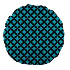 Circles3 Black Marble & Turquoise Colored Pencil Large 18  Premium Round Cushions by trendistuff