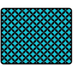 Circles3 Black Marble & Turquoise Colored Pencil Double Sided Fleece Blanket (medium)  by trendistuff