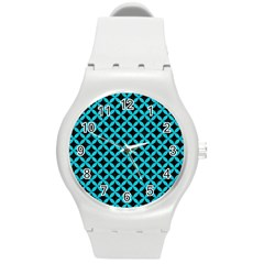 Circles3 Black Marble & Turquoise Colored Pencil (r) Round Plastic Sport Watch (m) by trendistuff